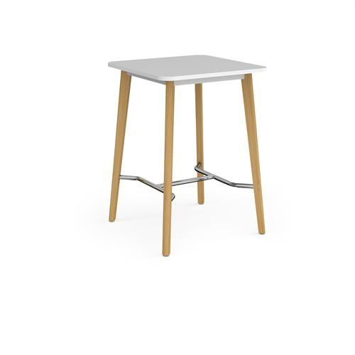 Como square poseur table with 4 oak legs 800mm - white