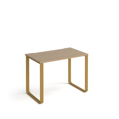 Cairo straight desk 1000mm x 600mm with sleigh frame legs - brass frame and oak top