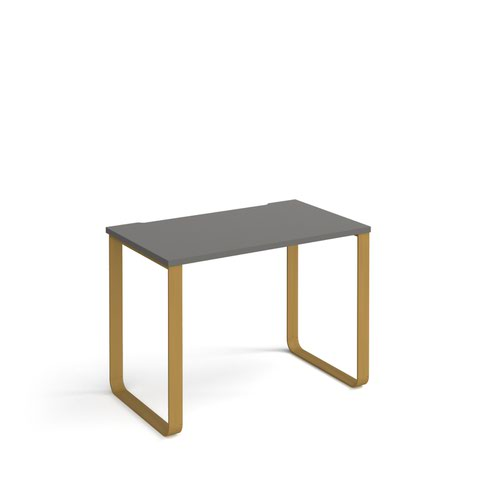 Cairo straight desk 1000mm x 600mm with sleigh frame legs - brass frame and grey top