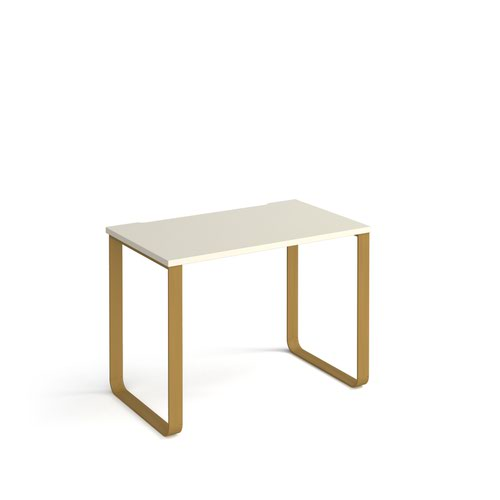 Cairo straight desk 1000mm x 600mm with sleigh frame legs - brass frame and white top