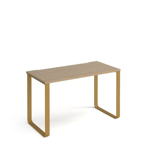 Cairo straight desk 1200mm x 600mm with sleigh frame legs - brass frame and oak top