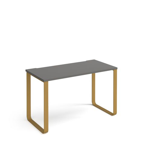 Cairo straight desk 1200mm x 600mm with sleigh frame legs - brass frame and grey top