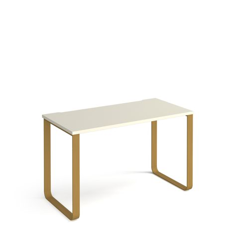 Cairo straight desk 1200mm x 600mm with sleigh frame legs - brass frame and white top