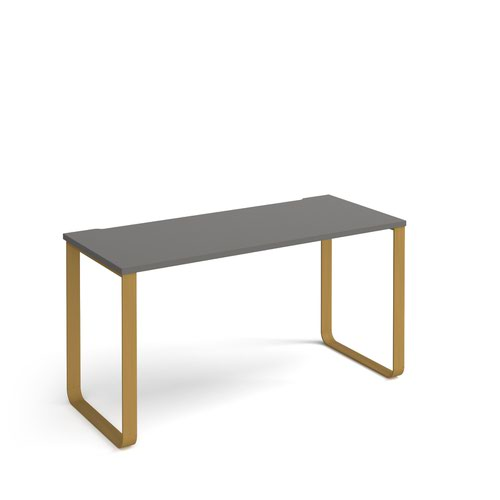 Cairo straight desk 1400mm x 600mm with sleigh frame legs - brass frame and grey top