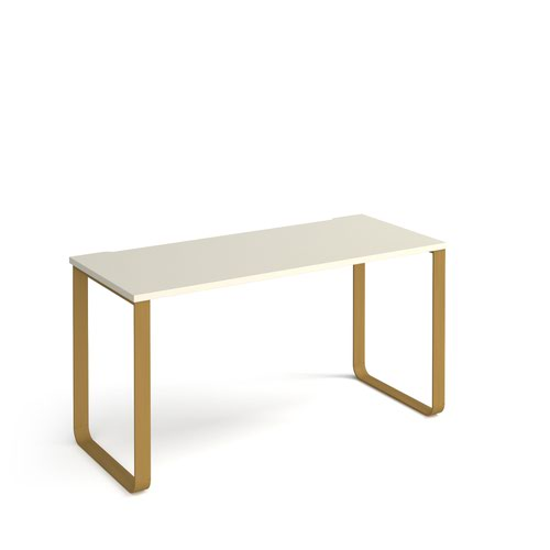 Cairo straight desk 1400mm x 600mm with sleigh frame legs - brass frame and white top