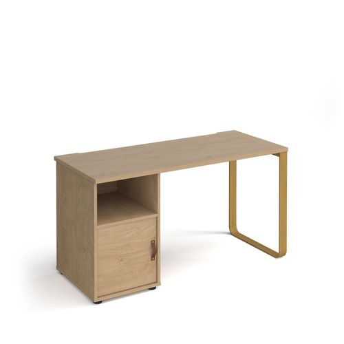 Cairo straight desk 1400mm x 600mm with sleigh frame leg and support pedestal with cupboard door - brass frame and oak finish with oak door