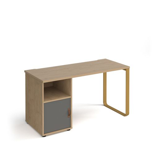 Cairo straight desk 1400mm x 600mm with sleigh frame leg and support pedestal with cupboard door - brass frame and oak finish with grey door