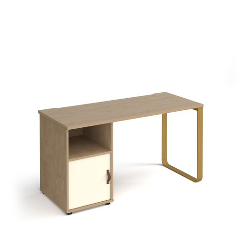 Cairo straight desk 1400mm x 600mm with sleigh frame leg and support pedestal with cupboard door - brass frame and oak finish with white door