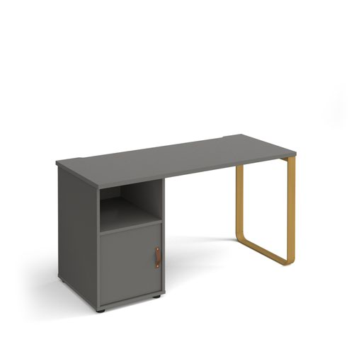 Cairo straight desk 1400mm x 600mm with sleigh frame leg and support pedestal with cupboard door - brass frame and grey finish with grey door