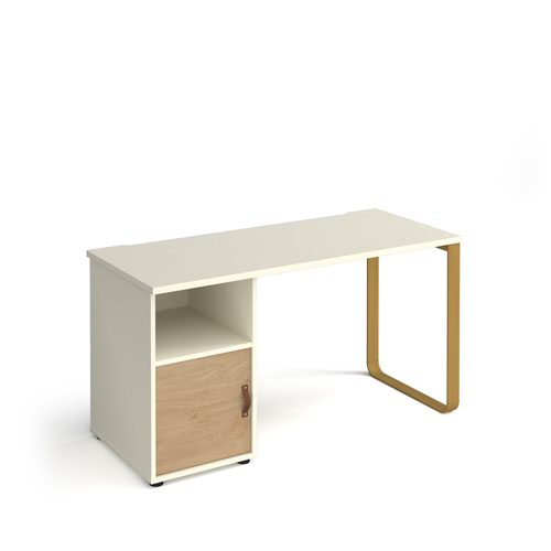 Cairo straight desk 1400mm x 600mm with sleigh frame leg and support pedestal with cupboard door - brass frame and white finish with oak door
