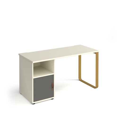 Cairo straight desk 1400mm x 600mm with sleigh frame leg and support pedestal with cupboard door - brass frame and white finish with grey door