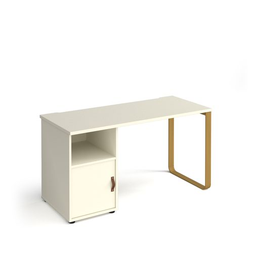 Cairo straight desk 1400mm x 600mm with sleigh frame leg and support pedestal with cupboard door - brass frame and white finish with white door