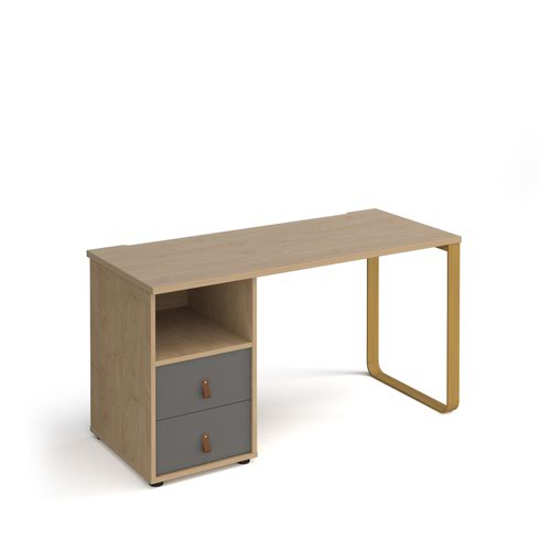 Cairo straight desk 1400mm x 600mm with sleigh frame leg and support pedestal with drawers - brass frame and oak finish with grey drawers