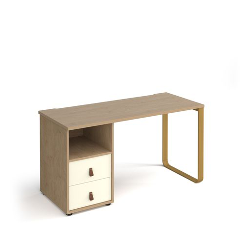 Cairo straight desk 1400mm x 600mm with sleigh frame leg and support pedestal with drawers - brass frame and oak finish with white drawers