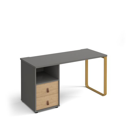 Cairo straight desk 1400mm x 600mm with sleigh frame leg and support pedestal with drawers - brass frame and grey finish with oak drawers