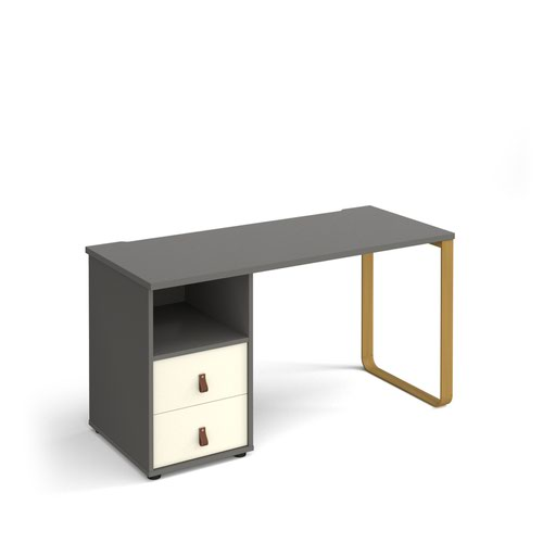 Cairo straight desk 1400mm x 600mm with sleigh frame leg and support pedestal with drawers - brass frame and grey finish with white drawers