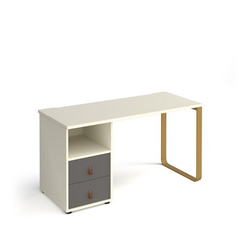 Cairo straight desk 1400mm x 600mm with sleigh frame leg and support pedestal with drawers - brass frame and white finish with grey drawers
