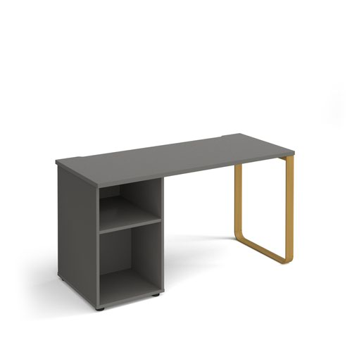 Cairo straight desk 1400mm x 600mm with sleigh frame leg and support pedestal - brass frame and grey top
