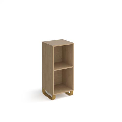 Cairo cube storage unit 950mm high with 2 open boxes and sleigh frame legs - oak