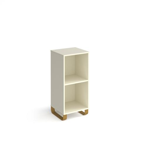 Cairo cube storage unit 950mm high with 2 open boxes and sleigh frame legs - white