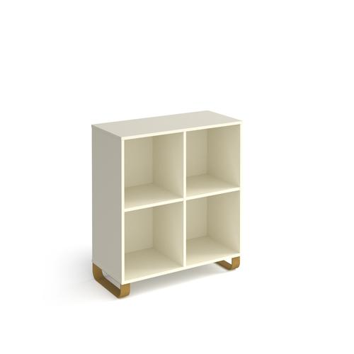 Cairo cube storage unit 950mm high with 4 open boxes and sleigh frame legs - white