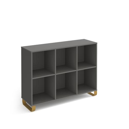 Cairo cube storage unit 950mm high with 6 open boxes and sleigh frame legs - grey