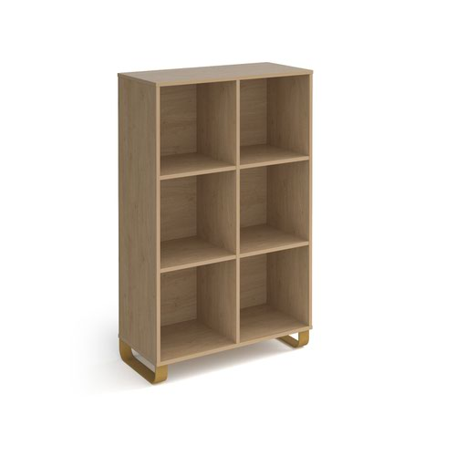 Cairo cube storage unit 1370mm high with 6 open boxes and sleigh frame legs - oak