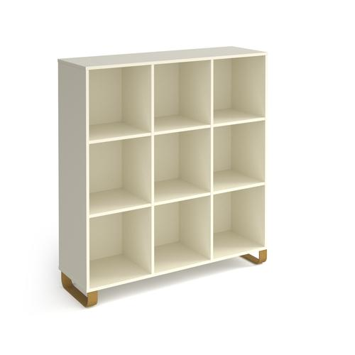 Cairo cube storage unit 1370mm high with 9 open boxes and sleigh frame legs - white