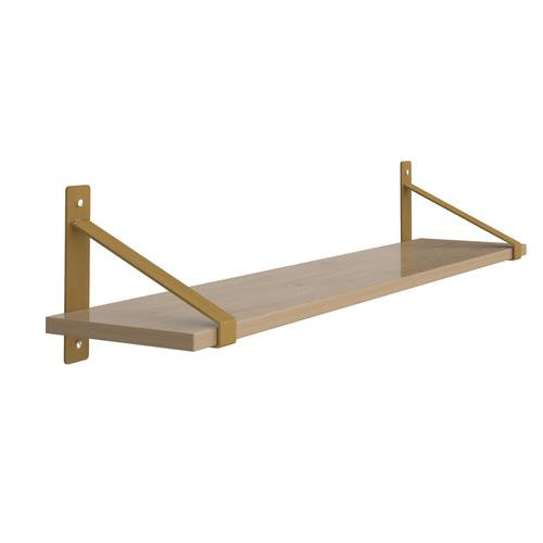 Cairo wall shelf 1000mm wide with fixed shelf support brackets - oak