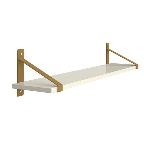 Cairo wall shelf 1000mm wide with fixed shelf support brackets - white