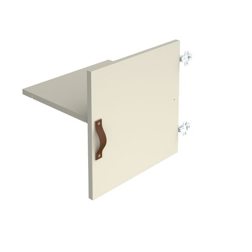 Storage unit insert - cupboard with leather strap handle and inner shelf - white