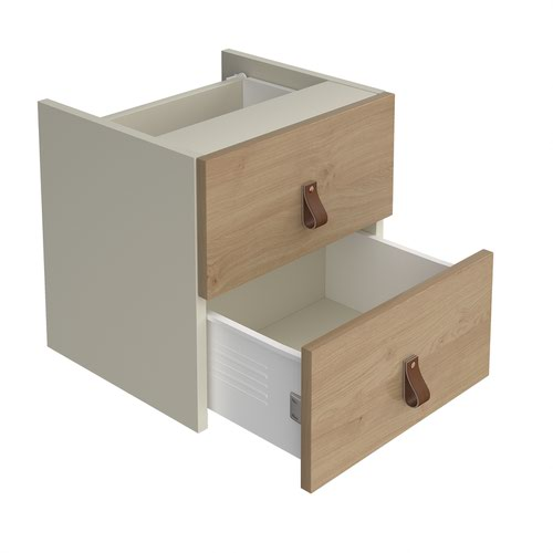 Storage unit insert - drawers with leather pull handles - oak
