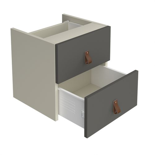 Storage unit insert - drawers with leather pull handles - grey