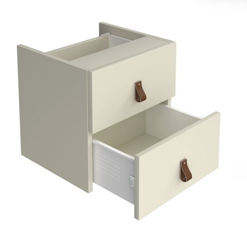 Storage unit insert - drawers with leather pull handles - white