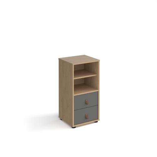 Universal cube storage unit 875mm high on glides with matching shelf and drawers - oak with grey inserts