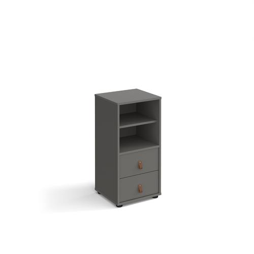 Universal cube storage unit 875mm high on glides with matching shelf and drawers - grey with grey inserts