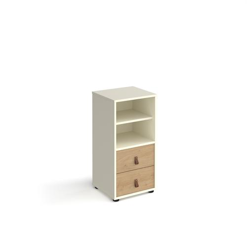 Universal cube storage unit 875mm high on glides with matching shelf and drawers - white with oak inserts