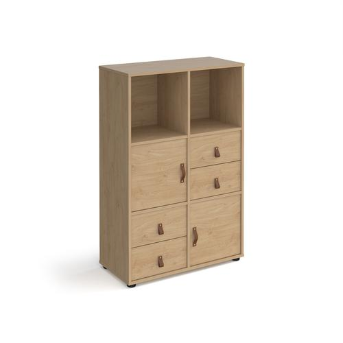 Universal cube storage unit 1295mm high on glides with 2 cupboards and 2 sets of drawers - oak with oak inserts