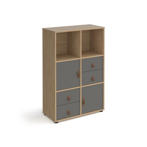 Universal cube storage unit 1295mm high on glides with 2 cupboards and 2 sets of drawers - oak with grey inserts