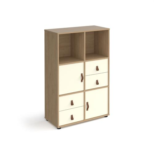 Universal cube storage unit 1295mm high on glides with 2 cupboards and 2 sets of drawers - oak with white inserts