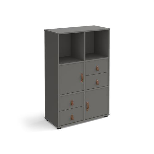 Universal cube storage unit 1295mm high on glides with 2 cupboards and 2 sets of drawers - grey with grey inserts