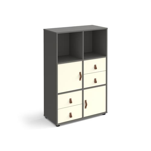 Universal cube storage unit 1295mm high on glides with 2 cupboards and 2 sets of drawers - grey with white inserts