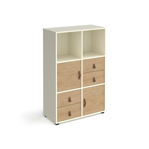 Universal cube storage unit 1295mm high on glides with 2 cupboards and 2 sets of drawers - white with oak inserts