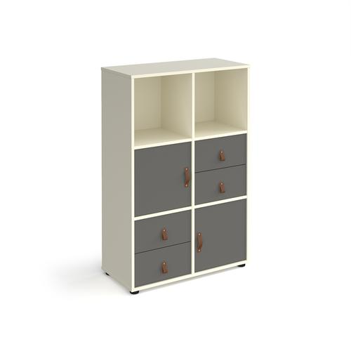 Universal cube storage unit 1295mm high on glides with 2 cupboards and 2 sets of drawers - white with grey inserts