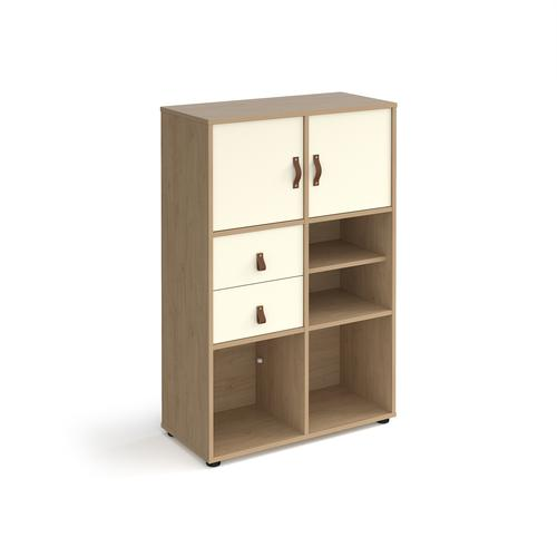 Universal cube storage unit 1295mm high on glides with matching shelf and 2 cupboards and drawers - oak with white inserts