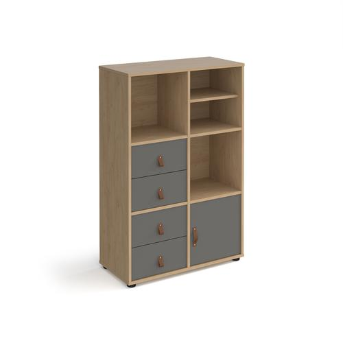 Universal cube storage unit 1295mm high on glides with matching shelf and cupboard and 2 sets of drawers - oak with grey inserts