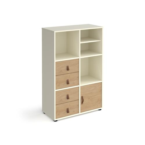 Universal cube storage unit 1295mm high on glides with matching shelf and cupboard and 2 sets of drawers - white with oak inserts