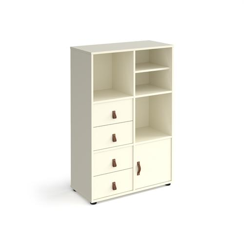 Universal cube storage unit 1295mm high on glides with matching shelf and cupboard and 2 sets of drawers - white with white inserts