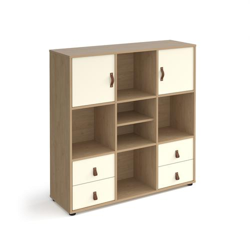 Universal cube storage unit 1295mm high on glides with matching shelf and 2 cupboards and 2 sets of drawers - oak with white inserts