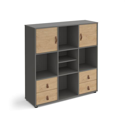 Universal cube storage unit 1295mm high on glides with matching shelf, 2 cupboards and 2 sets of drawers - grey with oak inserts